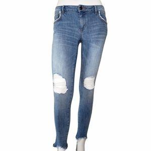 Zara | Medium Wash Raw Hem Distressed Jeans 4